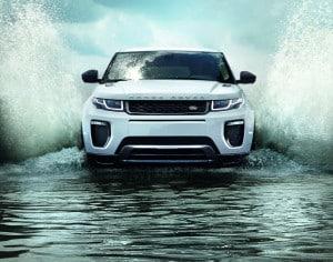 Range Rover driving through water