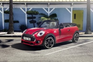 Red Mini Convertible 2016 John Cooper Works model
