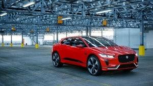 Jaguar car in a warehouse