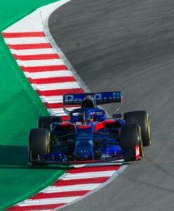 Formula 1 car going fast
