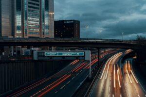 A motorway at night.