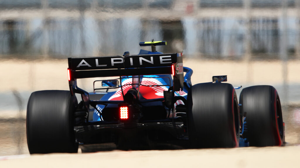 The rear of an Alpine F1 car